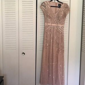 Adrianna Papell Short Sleeve V Neck Sequin Gown